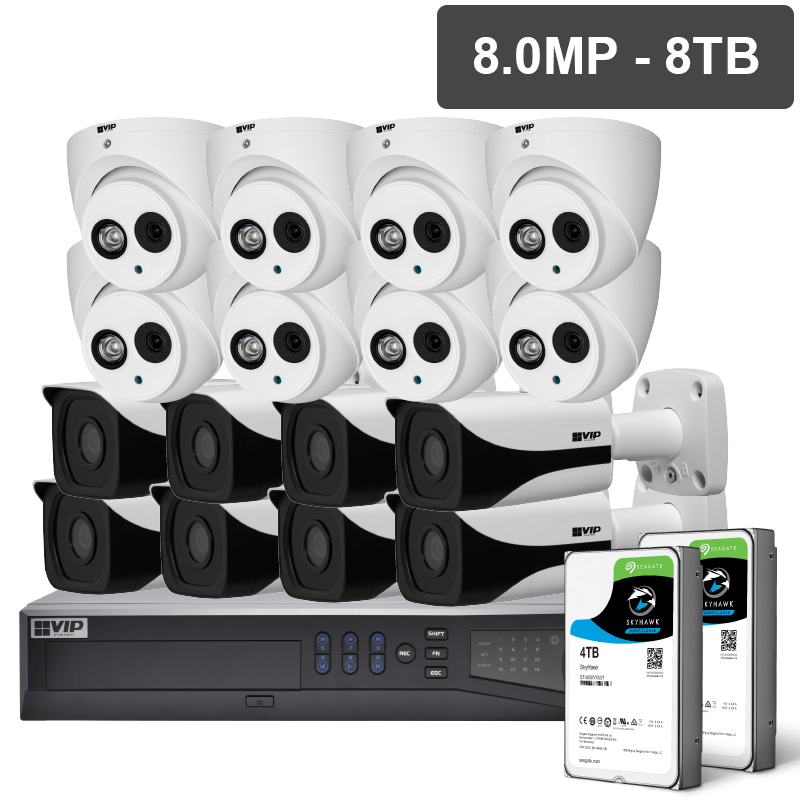 VIP NVRKIT-P1688F Pro Series 16 Camera 8.0MP IP Surveillance Kit