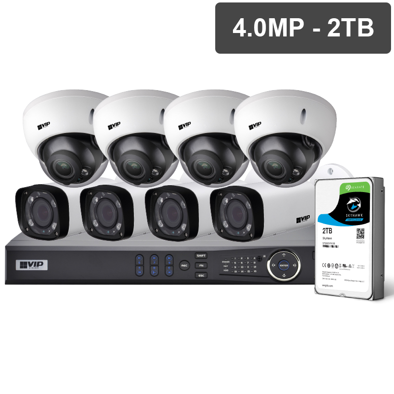 VIP NVRKIT-P842M Pro Series 8 Camera 4.0MP IP Surveillance Kit