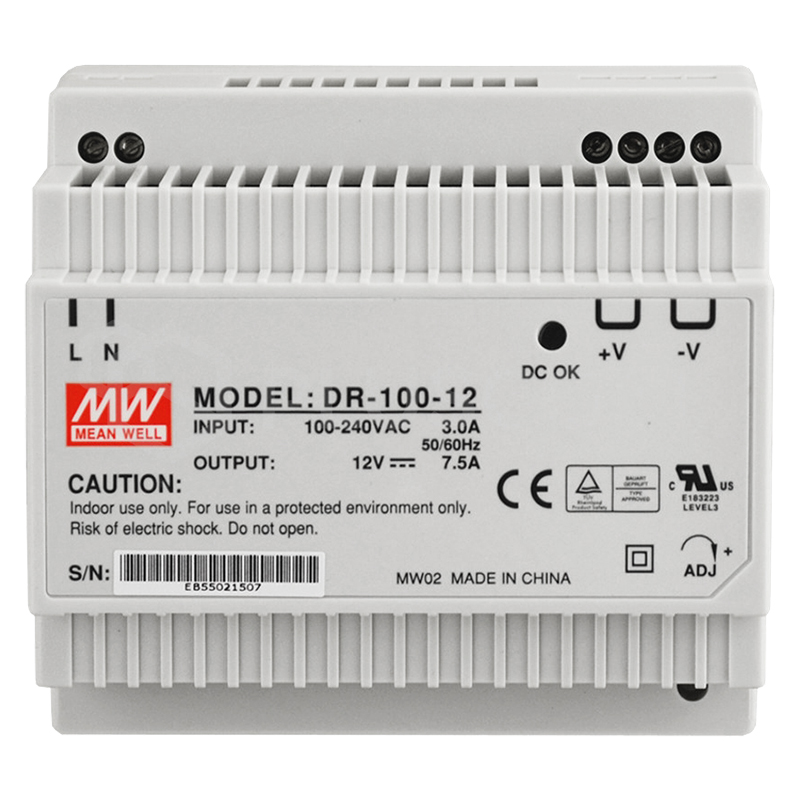 Securview PSDR12V7A 12VDC 7.5A Single Output DIN Rail Power Supply