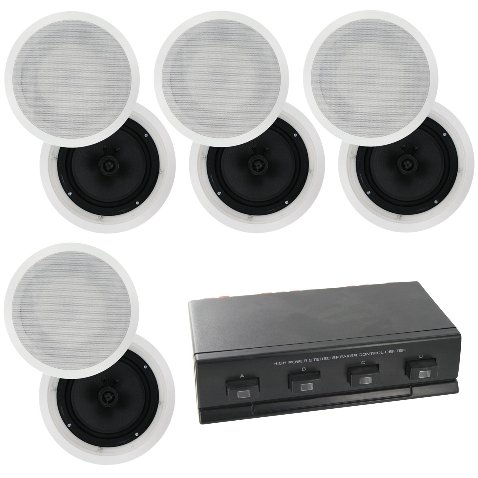 Selby Cs809x4a1006 4 Zone 8 Speaker Pack With 8 Inch In Ceiling Speakers Carbon Cone