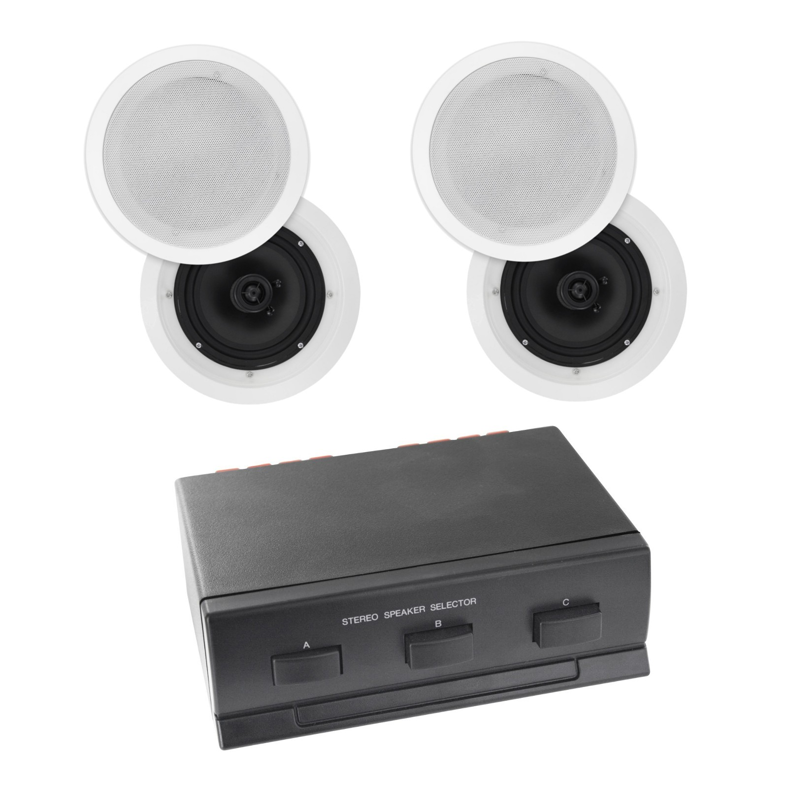 Generic Bun900031 2 Zone 4 Speaker Pack With 6 5 Inch In Ceiling Speakers Poly Cone Bun900031