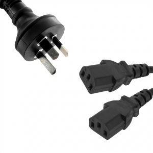 8Ware CB8W-RC-3085AU-020 Power Cable 2m 3-Pin AU to 2 IEC C13 Male to Female (Formerly RC-3081)