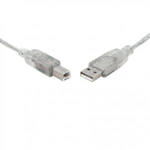 8Ware CB8W-UC-2000AB USB 2.0 Cable 0.5m (50cm) A to B Transparent Metal Sheath UL Approved