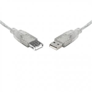 8Ware CB8W-UC-2005AAE USB 2.0 Extension Cable 5m A to A Male to Female Transparent Metal Sheath Cable