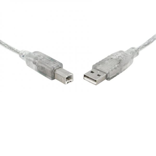 8Ware CB8W-UC-2PRT2 USB 2.0 Printer Cable 2m A to B Transparent Metal Sheath UL Approved (Pack of 10)