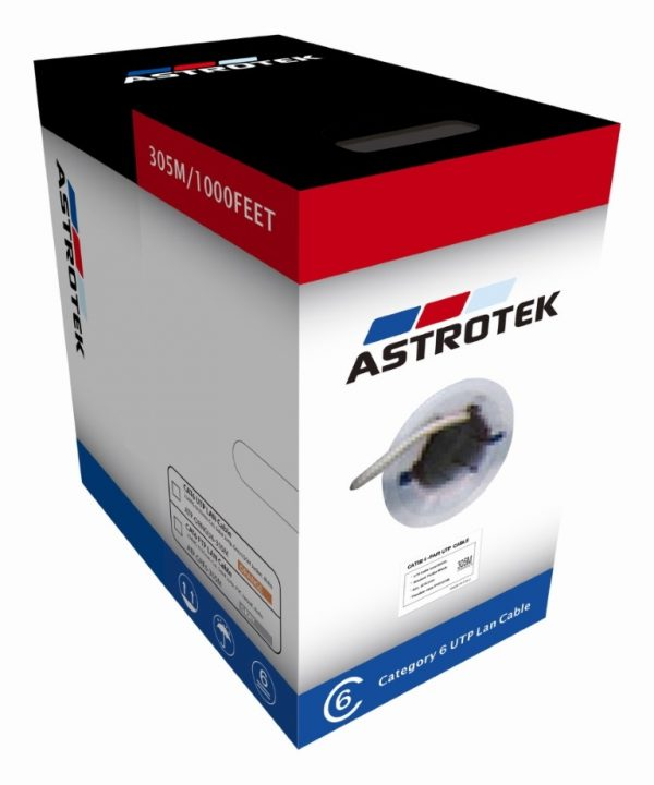 Astrotek CBATP-GRF6-305M CAT6 FTP Cable 305m Roll - Grey White Full 0.55mm Copper Solid Wire Ethernet LAN Network 23AWG 0.55cu Solid 2x4p PVC Jacket
