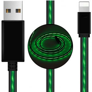 Astrotek CBGB-CK-VS801L-GN LED Light Up Visible Flowing USB Lightning Data Sync Charger Cable Green Charging Cord for iPhone 5 6 7 8 Plus Mobile Phone