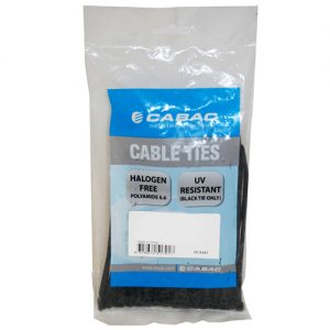 Cabac CBC-CT196BK-LD 200mm 100 Pack, 2.5mm UV Wide Nylon Cable Tie LS