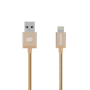 "mbeat® CBMB-MB-ICA-GLD ""Toughlink"" 1.2m Lightning Cable - Gold/ Metal Braided MFI/2.4A Fast Charge/Durable/Tangle Free Design"
