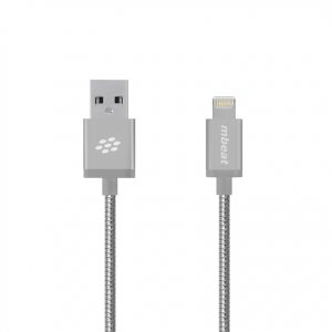 "mbeat® CBMB-MB-ICA-SLV ""Toughlink"" 1.2m Lightning Cable - Silver/Metal Braided MFI/2.4A Fast Charge/Durable/Tangle Free Design"