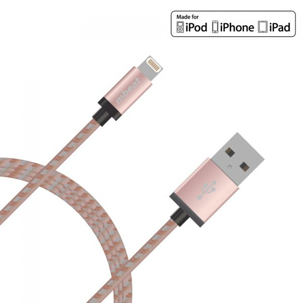 mbeat® CBMB-MB-ICAB-2R 2m Lightning Cable with Rose Gold Nylon Braided - Tangle Free/ Aluminum Crush Proof Plug Design/MFI Certified 100%/Data-Sync/Charging/Apple Dev
