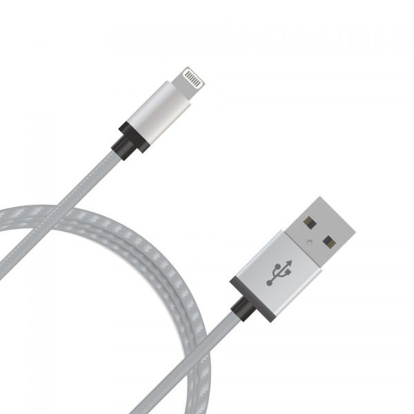 mbeat® CBMB-MB-ICAB-2S 2m Lightning Cable with Silver Nylon Braided - Tangle Free/ Aluminum Crush Proof Plug Design/MFI Certified 100%/Data-Sync/Charging/Apple Device