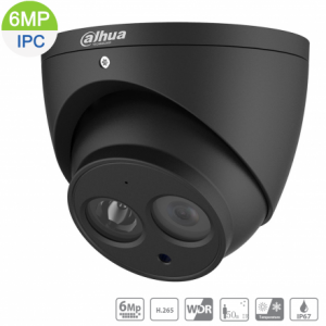 Dahua DH-IPC-HDW1631EM-0280B-BLK 6MP IP Black Turret Fixed 2.8mm,Built-in Mic,ICR,WDR,IR 50m,IP67,POE