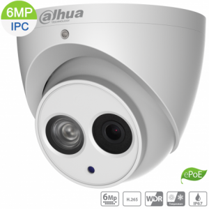 Dahua DH-IPC-HDW4631EMP-ASE-0280B 6MP IP Turret Fixed 2.8mm,Built-in Mic,ICR,WDR,IR 50m,IP67,ePOE