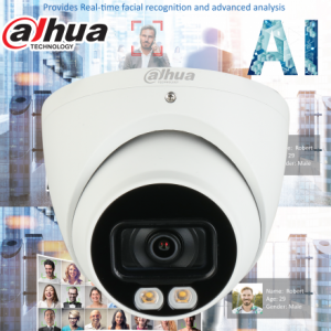 Dahua DH-IPC-HDW5442TMP-AS-LED-0280B AI 4MP Starlight+ IP Turret Fixed 2.8mm, Mic,ICR+White Light, WDR(140dB),IR 20m, Micro SD,IP67, POE
