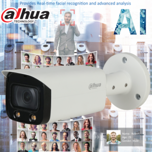 Dahua DH-IPC-HFW5442TP-AS-LED-0280B AI 4MP Starlight+IP Bullet Fixed 2.8mm, ICR+White Light,WDR(140dB),IR 20m, Micro SD,IP67,POE