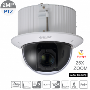 Dahua DH-SD52C225U-HNI 2MP Starlight IP PTZ 25X 4.8mm~120mm lens,60fps,WDR,IVS, Auto Tracking,IK10, AC24V/1.5A, POE+