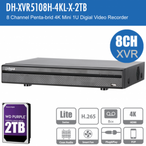 Dahua DH-XVR5108H-4KL-X-2TB 8ch Penta-brid Record Up to 4K,IVS,Face Detection,Smart Serach, Smart Fan,P2P,HDD-2TB installed
