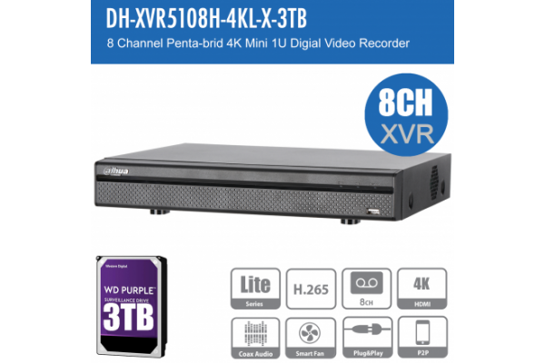 Dahua DH-XVR5108H-4KL-X-3TB 8ch Penta-brid Record Up to 4K,IVS,Face Detection,Smart Serach, Smart Fan,P2P,HDD-3TB installed