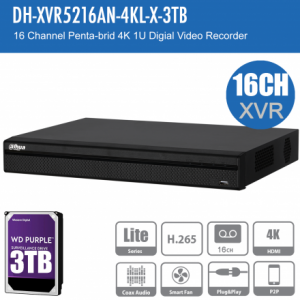 Dahua DH-XVR5216AN-4KL-X-3TB 16ch Penta-brid Record Up to 4K,IVS,Face Detection,Smart Serach, Smart Fan,P2P,HDD-3TB installed