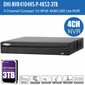 Dahua DHI-NVR4104HS-P-4KS2-3TB 4ch NVR Record Up to 8MP, 4 Port PoE,HDMI(4K), P2P, HDD-3TB installed
