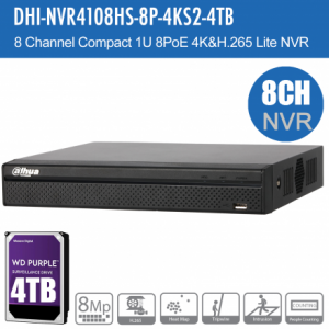 Dahua DHI-NVR4108HS-8P-4KS2-4TB 8ch NVR Record Up to 8MP, 8 Port PoE,HDMI(4K),Smart 2.0, P2P,HDD-4TB installed