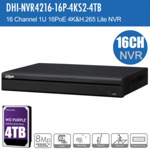 Dahua DHI-NVR4216-16P-4KS2-4TB 16ch NVR Record Up to 8MP, 16 Port PoE, HDMI(4K), P2P,HDD-4TB installed