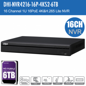 Dahua DHI-NVR4216-16P-4KS2-6TB 16ch NVR Record Up to 8MP, 16 Port PoE, HDMI(4K), P2P,HDD-6TB installed