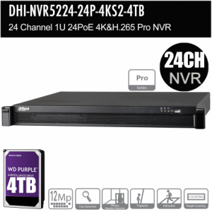 Dahua DHI-NVR5224-24P-4KS2-4TB 24ch Pro NVR Record Up to 12MP,24 Port PoE, HDMI(4K), Fisheye Dewarp, Face Detection, Heat Map, ANPR, POS, P2P,HDD-4TB installed