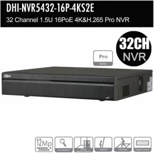 Dahua DHI-NVR5432-16P-4KS2E 32ch Pro NVR Record Up to 12MP,16 Port PoE, HDMI(4K), Fisheye Dewarp, Face Detection, Heat Map, ANPR, POS