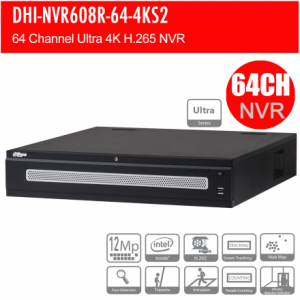 Dahua DHI-NVR608R-64-4KS2 64ch Ultra NVR Record Up to 12MP,RAID,2x HDMI(4K) ,2xEthernet Ports, Face Detection, POS, ANPR, Redundant Power