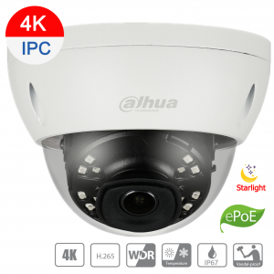 Dahua DH-IPC-HDBW4831EP-ASE-0400B 8MP(4K) IP STARVIS Dome Fixed 4mm lens, SD Card, WDR,IR 30m,IP67,ePOE