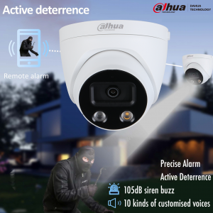 Dahua DH-IPC-HDW5541HP-AS-PV-0280B 5MP AI Active Deterrence Starlight IP Turret Fixed 2.8mm, Built-in Mic & Speaker,WDR,IR 50m, Micro SD,IP67,POE