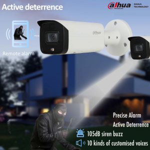 Dahua DH-IPC-HFW5541TP-AS-PV-0280B 5MP AI Active Deterrence Starlight IP Bullet Fixed 2.8mm, Built-in Speaker,WDR,IR 60m, Micro SD,IP67,POE