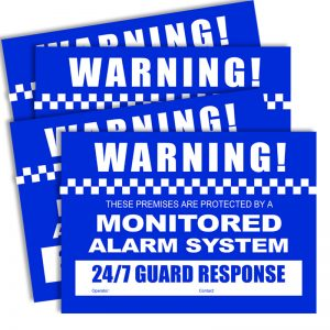 Watchguard VSCDSA Alarm Warning Stickers A4 Size (2 x Front 2 x Rear)